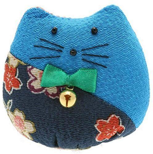 Japanese Blue Kyoto Kimono Maneki Neko Lucky Cat Bell Charm Ornament JAPAN MADE