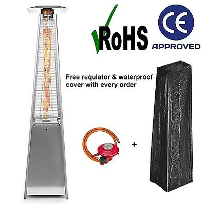 DEALOURUS QUARTZ 13KW GAS PATIO HEATER GARDEN PYRAMID OUTDOOR WITH WHEELS TUBE