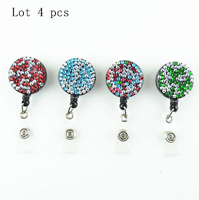 Lot 4 Pcs Rhinestone Bling Retractable Reel Holder With Belt Clip