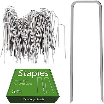 6-Inch Landscape Garden Staple Ground Stakes Lawn  Pegs for Weed Fabric 100 Pack