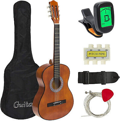 38'' IN BEGINNER ACOUSTIC GUITAR GUITAR BUNDLE KIT W/CASE STRAP DIGITAL E TUNER