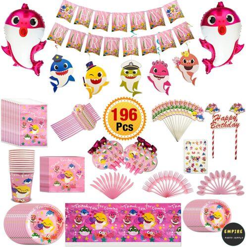 Pink Baby shark birthday Decoration Kit Baby Shark Party Supplies- Shark Theme