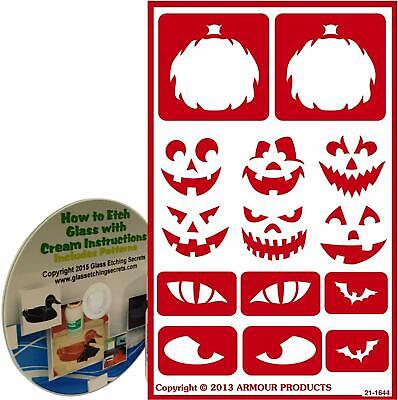 Halloween Stencils for Glass Etching or Painting with Pumpkin Faces + CD - Pumpkin Face Painting For Halloween