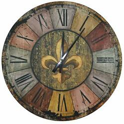 Wall Clock Vintage French Country Style Rustic Round Wood 23.5 Large Roman Deco