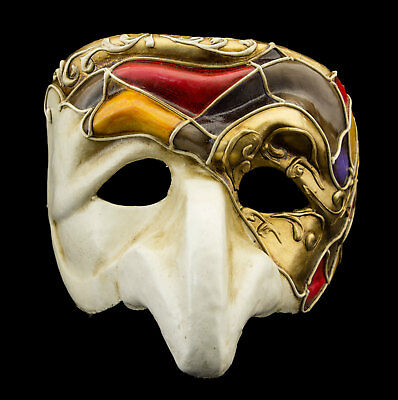 Mask from Venice Polichinelle White Golden Nose Paper Mache for Man Luxury 22349