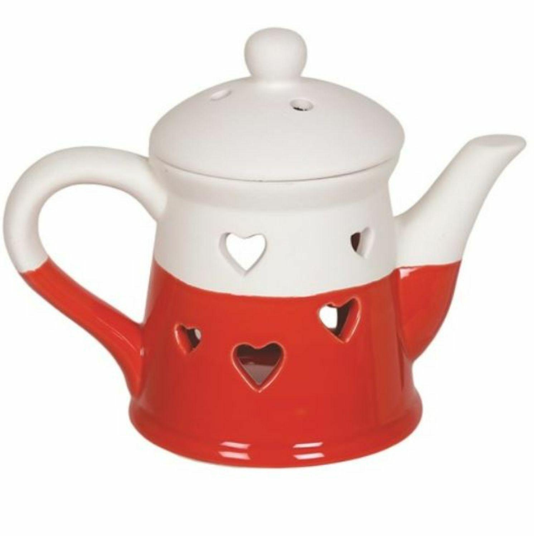 Aroma Accessories Teapot Wax Melt Burner - Hearts - Red