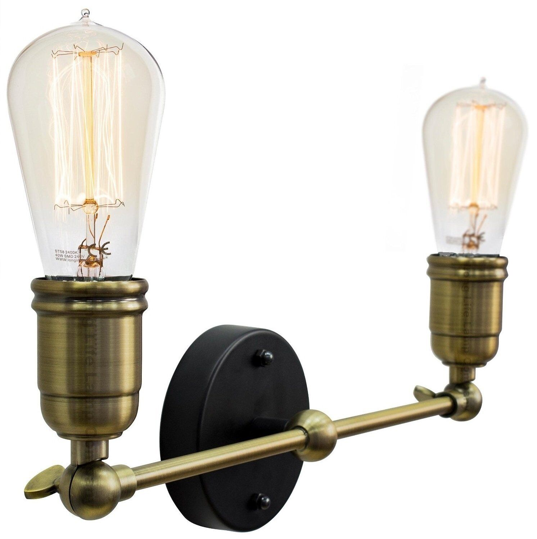 Modern Vintage Industrial Antique Brass Adjustable Double