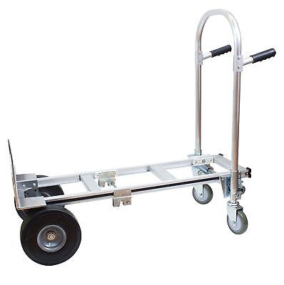Hta-7a 2 In 1 Junior Convertible Aluminum Hand Truck Flat Free Wheels