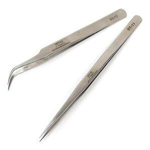 2 PCS Eyelash Extension Tweezers Straight & Curved Stainless Steel Set