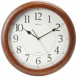 Elegant Decor Seiko Wall Clock Quiet Sweep Second Hand Oak Case - 13 Diameter