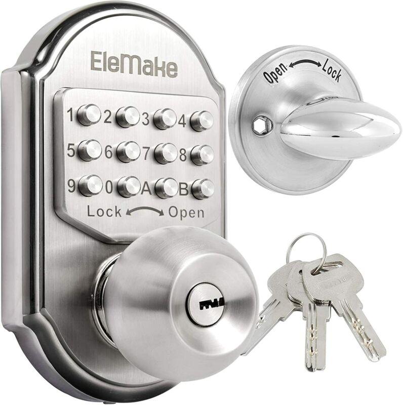 Mechanical Keyless Entry Door Lock Digital Code Keypad Knob Combination Deadbolt