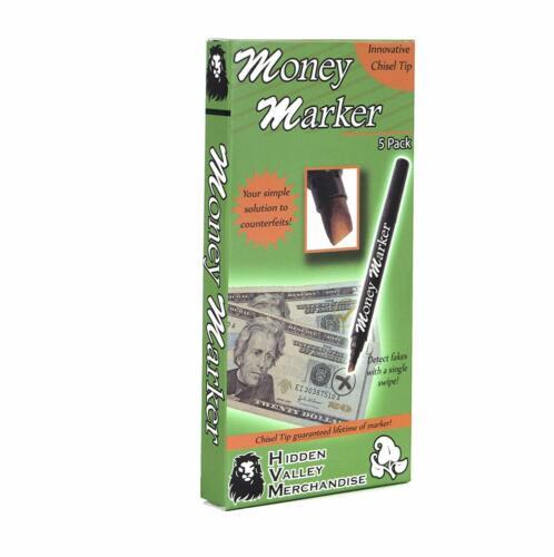 (5 Pens) Money Marker -- Counterfeit Fake Bill Detector Counterfit Dollar Pen