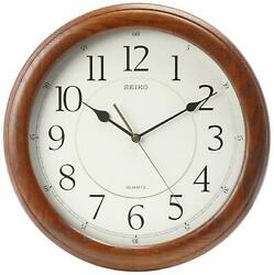 Seiko Wall Clock Quiet Sweep Second Hand Dark Brown Solid Oak Case QXA129BLH
