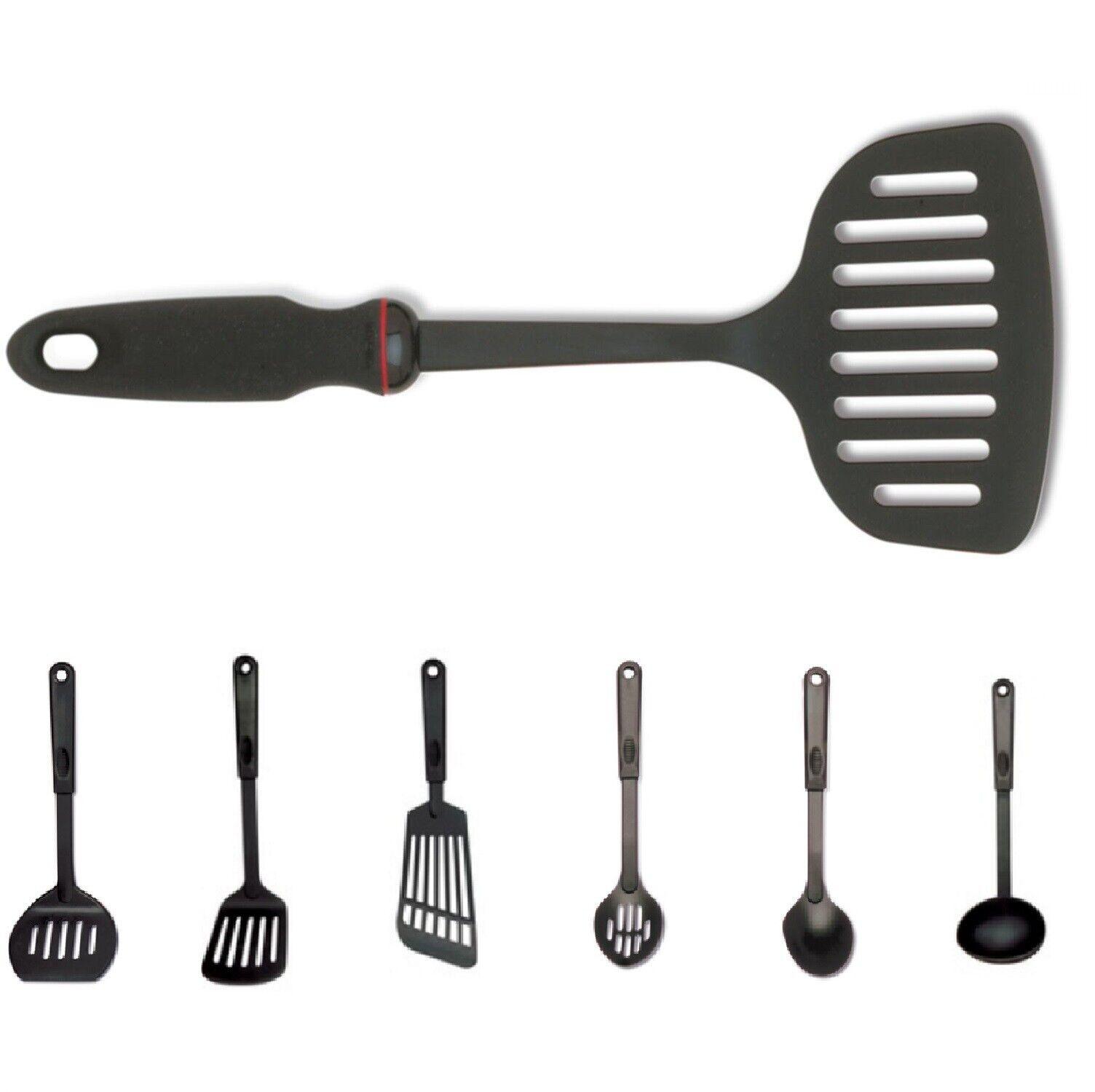 Black Nylon Heat Proof Kitchen Easy Grip Cooking Utensil Set