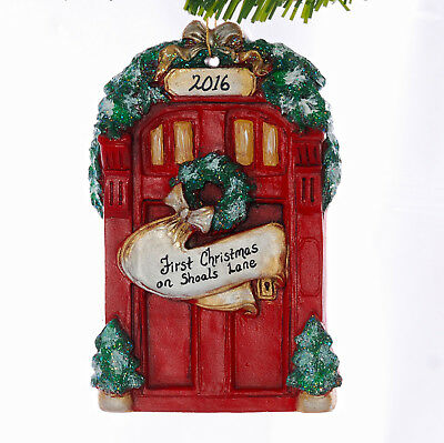 New Home Christmas Ornament Personalized Red Front Door First Christmas
