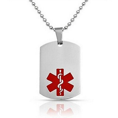 Type 2 Diabetes Medical Alert Engraved Dog Tag With 22  Chain   All Stainless