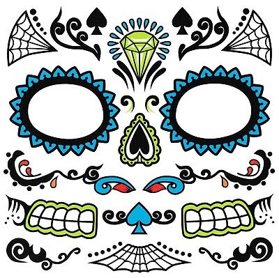 Dia de los Muertos Day of Dead Sugar Skull Temporary Face Tattoo Men's Costume