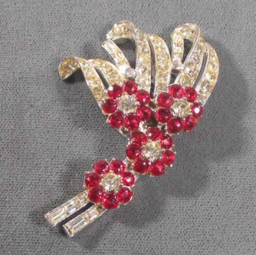 """Fur clip silvery metal w red & clear rhinestones 1.5"""" antique ᵐ n2"""