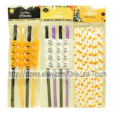 HALLOWEEN Party Favors DRINK STRAWS Bag Fillers GR8 FOR PARTIES *YOU CHOOSE* 1/2