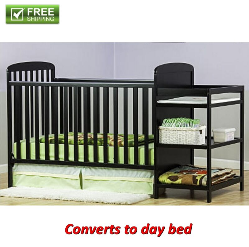FULL-SIZE CRIB CHANGER BLACK CONVERTIBLE BABY BED Toddler Kid Nursery Bedroom