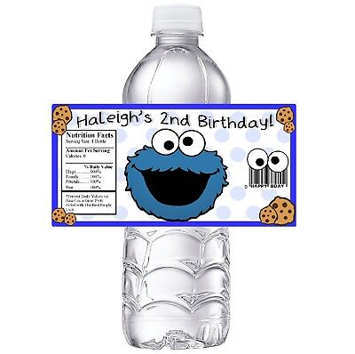 Cookie Monster Party (20 COOKIE MONSTER PERSONALIZED BIRTHDAY PARTY FAVORS WATER BOTTLE)