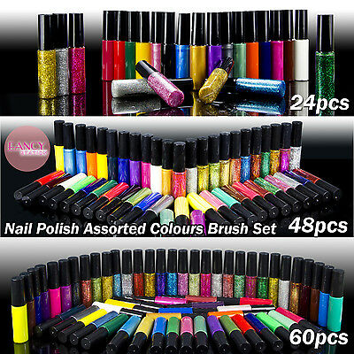24/48/60 Pcs Colors Nail Art Varnish Polish Liner Brush Painting Pen Kit Set NEW