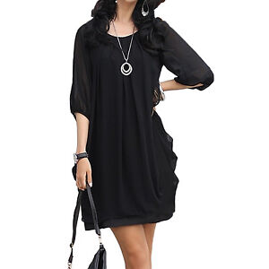 Black/White NEW Chiffon Cocktail Womens Mini Dress S-XL