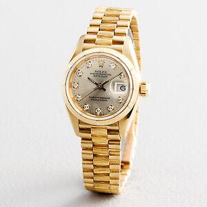 Lady-Rolex-18K-Yellow-Gold-Datejust-President-Bark-Silver-Diamond-69278-FV12A