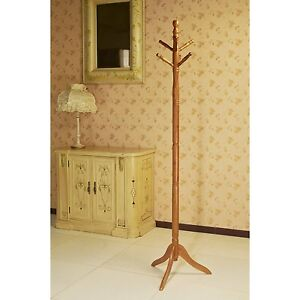 Oak Finish Wood Hall Tree Style Coat Hat Rack Stand Antique Style NEW Free Ship!