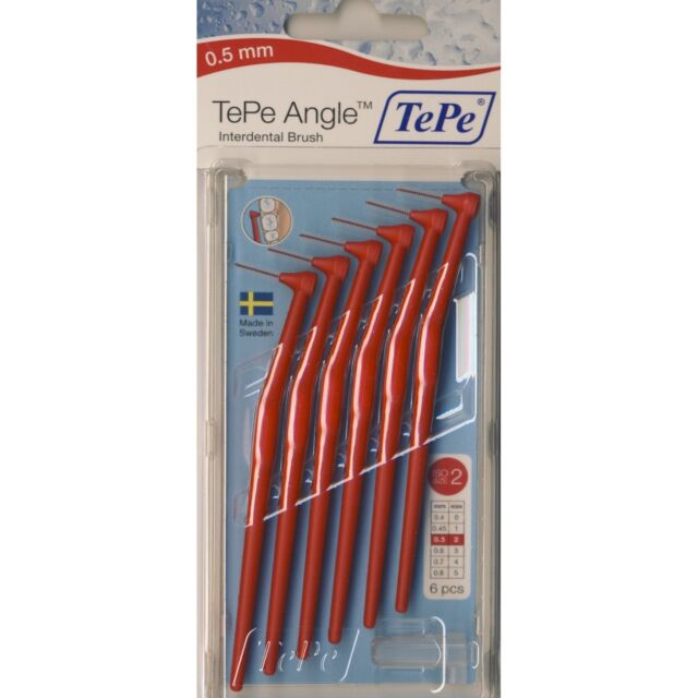 1 TePe Angle Interdental Brushes RED 0.5 mm Size 2 with Handle (Pack 6 Pieces)