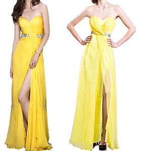Strapless-Yellow-Chiffon-Sequin-Formal-Bridesmaid-Homecoming-Prom-Long-Dress