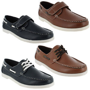New-Mens-Twin-Eyelet-Lace-Up-Velcro-Strapa-Deck-Boat-Moccasin-Shoes-Size-UK-7-11