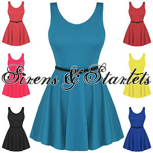 LADIES-NEW-VINTAGE-60S-80S-BELTED-FLARED-SLEEVELESS-SKATER-PARTY-DRESS-DRESSES