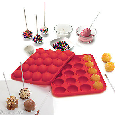 Norpro 3602 Silicone Cake Pop Pan With 20 Sticks Red Bite Size Treats On A Stick on Sale