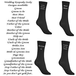 New-Black-Mens-Wedding-Socks-2-per-pair-Various-Titles-Groom-Best-Man-Father