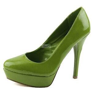 platform crinkle patent high heel shoe green lime ebay