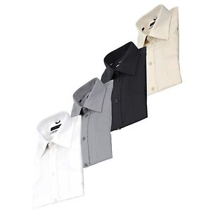 Mens-Business-Dress-Shirt-Spread-Collar-100-Cotton-Shirt-Long-Sleeve-Reg-Cuff
