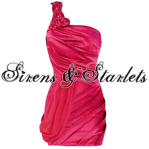 LADIES-NEW-PINK-PARTY-EVENING-COCKTAIL-BODYCON-ONE-SHOULDER-MINI-PENCIL-DRESS