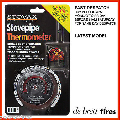 Stovax Stove Magnetic Thermometer Flue Pipe Coal Log Wood Multi Fuel