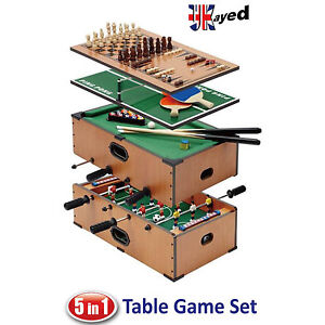 5 in 1 Deluxe Games Table - Pool - Football - Tennis - Chess - Backgammon