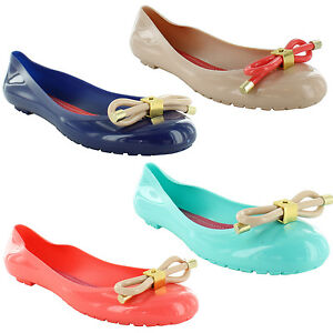 New-Ladies-Jelly-Flat-Beach-Bow-Ballet-Ballerina-Dolly-Sandals-Size-3-4-5-6-7-8
