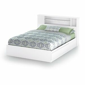 White Queen Size Platform Bed Frame With Bookcase