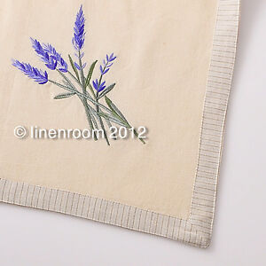 Linen Press LAVENDER Embroidered Cream COTTON Table Cloth Topper 110cm Square