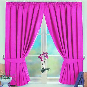 KIDS Childrens TOTAL BLACKOUT Lined Bedroom Curtains PINK BLUE BEIGE