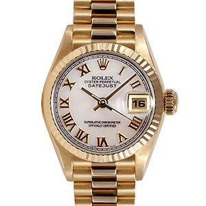 Ladies-Rolex-Datejust-President-18k-Yellow-Gold-Watch-White-MOP-Roman-Dial