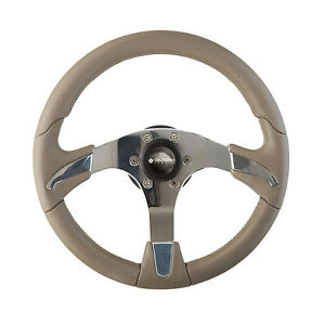 New-OEM-Gussi-Boat-Steering-Wheel-Polished-Aluminum-with-Taupe-Grey-Rim