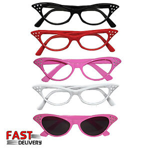 50s-Pink-white-black-red-Rock-n-Roll-Retro-Cat-Eye-Ladies-Fancy-Dress-Glasses