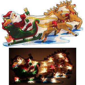 Christmas-Window-Lights-Merry-Santa-Sleigh-Reindeer-Silhouette-Indoor-Display