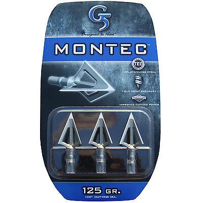 "G5 Broadhead Montec 3pk 125 Grain 1 1/8"" Cut #00110 Stainless Steel"