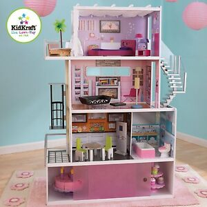 Dollhouse-Beachfront-Mansion-KidKraft-Doll-House-Furniture-Elevator-Wooden